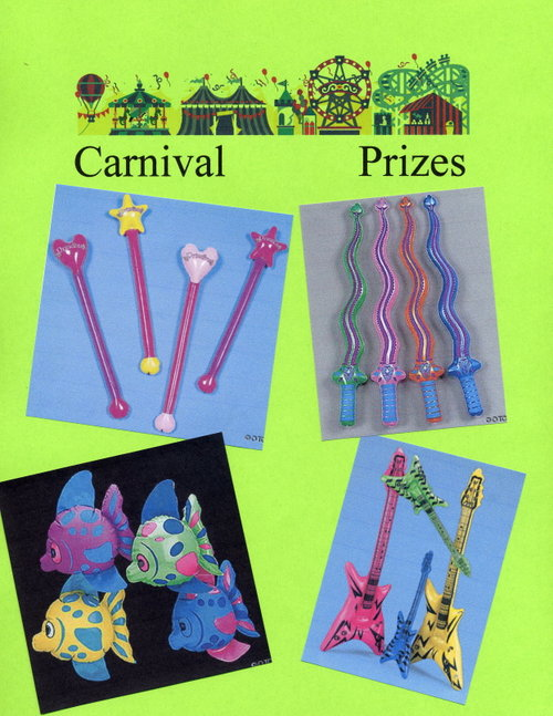 Carnival Prizes - Princess Wands, Swords, Inflatable Fish, Toy Guitars