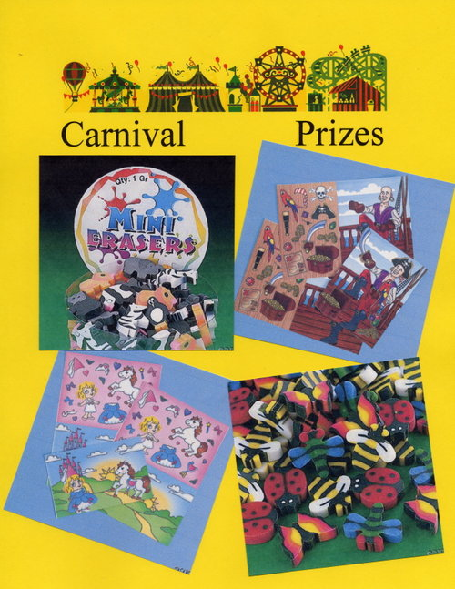 Carnival Prizes - Mini Erasers, Game Cards